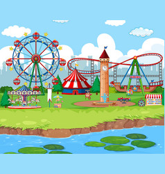 Scene background design with rides at carnival vector