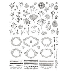 set hand drawn doodle flowers florals vector image
