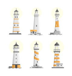 Set of cartoon flat isolated lighthouses vector