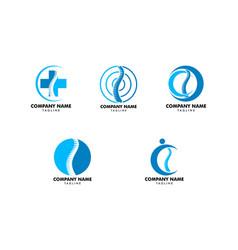 Set of chiropractic concept logo design template vector