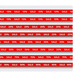 set of red realistic ribbons vector image