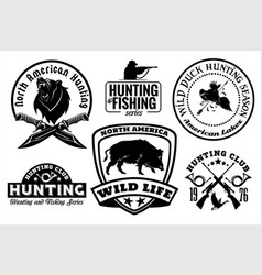 set of vintage hunting emblems vector image