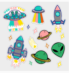 Set stickers or patches on space topic vector