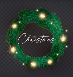 shining christmas decoration with fir tree vector image