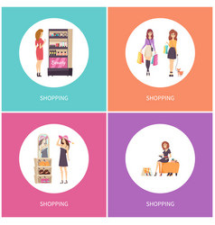 shopping customers walking with dog set vector image