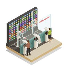 Shopping robotic technologies isometric vector