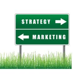 signpost strategy marketing grass below vector image