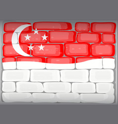 singapore flag painted on brickwall vector image