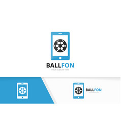 soccer and phone logo combination ball and vector image