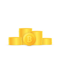 stacks of coins crypto currency bitcoin is vector image