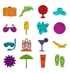 summer rest icons doodle set vector image