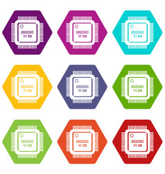 system microchip icons set 9 vector image