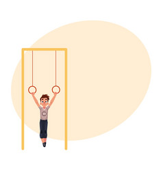 teenage caucasian boy hanging on gymnastic rings vector image