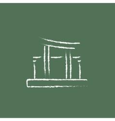 Torii gate icon drawn in chalk vector image