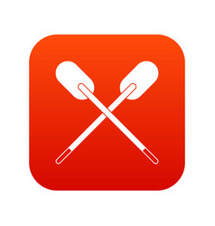 two wooden crossed oars icon digital red vector image