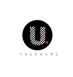 u letter logo design with white lines and black vector image