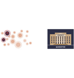 university quarantine topic on viral cell backdrop vector image