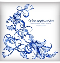 Watercolor blue backgroundGzhel details vector image vector image