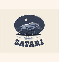 wild boar with tusks vector image
