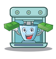 With money coffee maker character cartoon vector