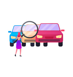 Woman looking on cars through huge magnifying vector