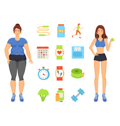 Woman sportive and fat lady vector