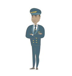 Young african pilot standing with folded arms vector