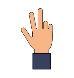 color image cartoon hand with three fingers up vector image