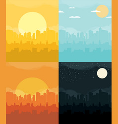 flat design urban landscape set vector image vector image