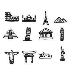set of travel landmarks around the world icon set vector image vector image