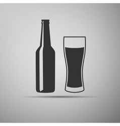 Bottle and glass of beer vector image