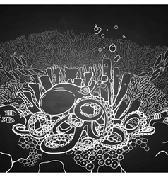 Graphic octopus and coral reef vector image vector image