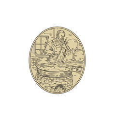 medieval monk brewing beer oval drawing vector image