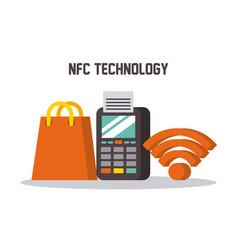nfc technology dataphone wifi shop gift bag online vector image vector image