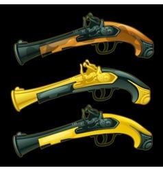 Set of three ancient pistols closeup vector image
