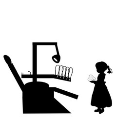 silhouette girl costs with tooth stomatology vector image