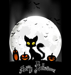 halloween background with cat and pumpkins vector image vector image