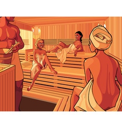 Interior of the steam room in the sauna vector image vector image