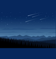 landscape and shooting stars vector image vector image