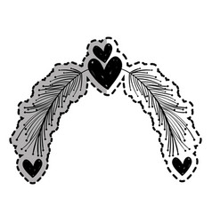 rustic feathers with hearts decoration design vector image