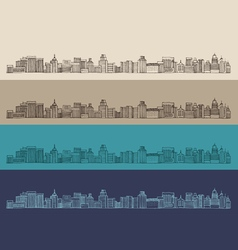 big city architecture engraved vector image
