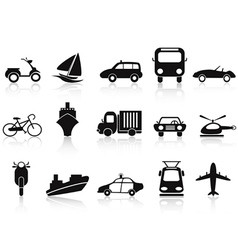 black transportation icons set vector image vector image