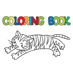 Coloring book of funny wild tiger vector image vector image