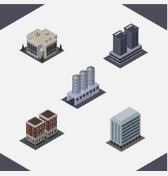 isometric building set of water storage house vector image vector image