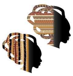 Silhouette of the head of an African woman vector image