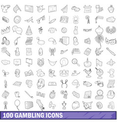 100 gambling icons set outline style vector image