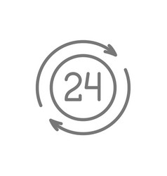 24 hour available services line icon vector