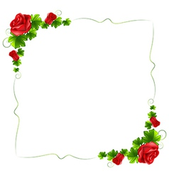 A floral border with red roses vector image