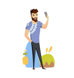 a man is talking on phone video messenger vector image
