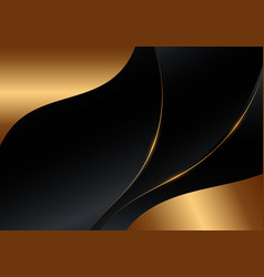 Abstract black golden smooth wave shape and lines vector